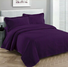 King Szie 3pc Solid Embossed bedspread Bed Cover New Over size Dark Purple