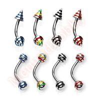 16G Stripe Spike Ball Curve Eyebrow Bar Ring Barbell Body Piercing Jewellery