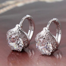 18ct White Gold Platinum filled Topaz earrings hoop White Sapphire Leverback