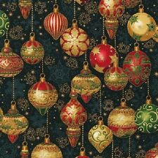 HOLIDAY FLOURISH ORNAMENTS DECORATIONS CHRISTMAS FABRIC METALLIC