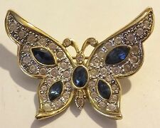 1998 P S CO GOLDTONE CLEAR & BLUE RHINESTONE BUTTERFLY BROOCH / PIN