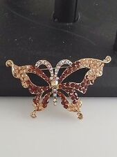 Gold Brown and AB Butterfly Brooch/Pin