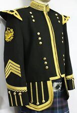 Pipe Major Doublet Black, With Golden Braid & Trim.