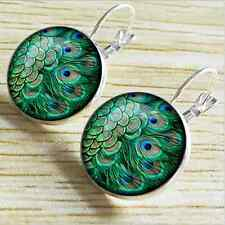 1pair feather Silver Glass cabochon  Earrings Jewelry Christmas gift