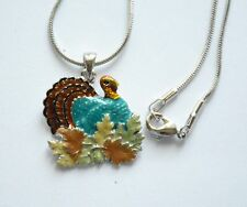 """Thanksgiving Turkey in Fall Leaves Pendent Necklace / 17"""" Silver-tone Chain"""