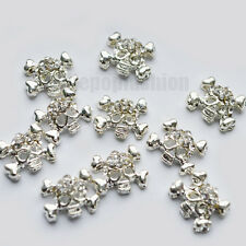 10x 3D Alloy Skull Silver Nail Art stickers Rhinestone Decoration for UV-Gel DIY