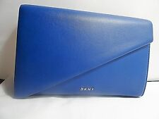 DKNY CLUTCH HANDBAG HEAVY NAPPA LEATHER - COBALT BLUE - SILVER HARDWARE MSRP 200