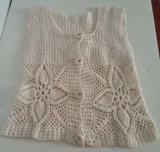 Kenya Handmade Cream Ladies Crochet Knit Short Small Vest With 4 Crochet buttons