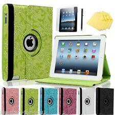 360° Apple iPad 4/3/2 Schutz Hülle+Folie Tasche Smart Cover Case Etui Blumen-6F