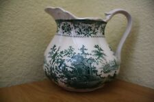 TRANSFERWARE PITCHER PORCELAIN GREEN TOILE 20 OUNCE MARKED ASCOT COAT OF ARMS