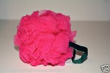 1 Bath & Body Works PINK BIG Exfoliating Pouf Gauze Bath Sponge w holder