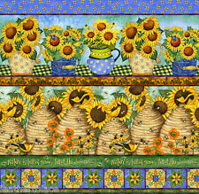 SPX Fabrics ~ Sunny Blossoms Sunflowers ~ Stripes ~ 100% Cotton Quilt Fabric BTY