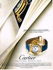 PUBLICITE ADVERTISING 094  1992  CARTIER JOAILLIER montre DIABOLO