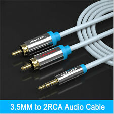 New 1.5m 3.5mm Jack to 2 x RCA Cable (Twin Phono) Audio Lead Stereo