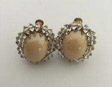 Miriam Haskell Vintage 1950s Cabochon And Crystal Bead Earrings