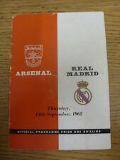 13/09/1962 Arsenal v Real Madrid [Friendly] (folded, team changes, score on fron
