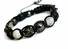 Men's Agate Lavastone Hematite Gemstone Beaded Shamballa Adjustable Bracelet