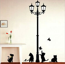 CATS & LAMP POST Adhesive Wall Art Decor Sticker Mural Paper Peel & Stick Home