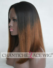 Best Ombre Silk Top Lace Front Human Hair Wigs Brazilian Remy Yaki Straight 150%