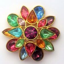 Joan Rivers Flower Domed Faceted Multi Color Pin Brooch Gold Tone Easter RARE