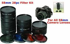 58mm 28pc FILTER SET LENS KIT UV ND FD SEPIA FOR CAMERA CANON EOS REBEL T2 T3i