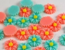 24pcs Pink Green Flowers Resin Flatbacks Scrapbooking Cabochons Jewelry Making