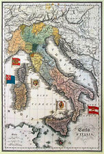 Antique Map of the Italy. Vintage Art Poster Reproduction (20 x 29)