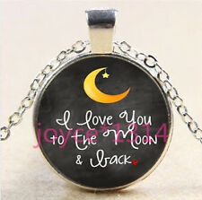 I LOVE YOU TO THE MOON AND BACK Tibetan silver Glass Chain Pendant Necklace#6069