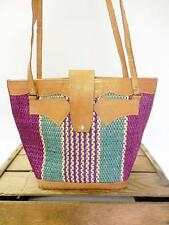 VINTAGE Colorful Woven Straw & Tan Leather Large Market Bag Tote Shopper Purse