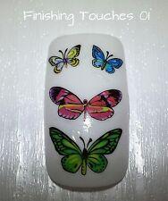 Nail Art de transferencia de agua-Verde Mariposa calcomanía # 399 ble1952 Mate pegatina Flor