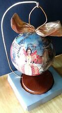 "1997 Holiday Barbie 4"" Decoupage Ball Ornament with Wooded Stand"