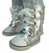 """MARKDOWN Metallic Silver Sneakers Boots Shoes for 18"""" American Girl Doll Clothes"""
