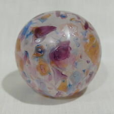"Vintage Art Glass Pink Mauve Iridescent Surface 3"" Paperweight ~ Signed"