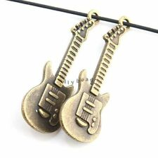 10x Bulk Wholesale Bronze Vintage Guitar Alloy Jewelry Pendant 35x12x2mm Lots D