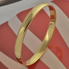 Simple 9K real Gold Filled Women's Smooth Bangle Bracelet Size 2.7inches