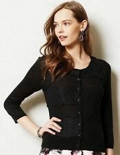 NEW  Anthropologie  Black Lace Ruled Cardigan by Knitted & Knotted, Size M