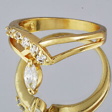 Hot Pretty Yellow Gold Filled Clear CZ Gemstone Womens Mood Ring Size 7.5