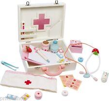 malette du docteur, Clinique de poupées Bois beaucoup d'accessoires env. 22 x