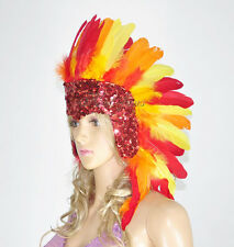 Showgirl feather sequins lasvegas dancer headgear headdress in fire
