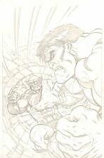 Hulk Smashing Wolverine Pencil Commission - 2013 art by Ed McGuinness