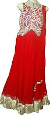 RED TWO IN ONE CONCEPT INDIAN STITCHED  ANARKALI SALWAR KAMEEZ / GOWN DRESS