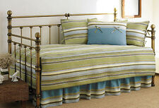Stone Cottage 5-Piece Fresno Green Stripe Daybed Set Cover Shams Skirt Bedding