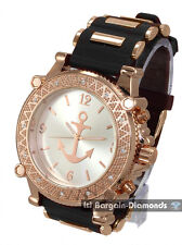 mens big rose gold watch navy anchor dial bullets black sport strap