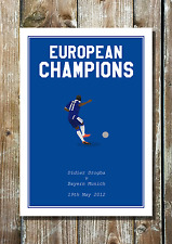 Didier Drogba Minimalist Chelsea Inspired Football Art Print 'European Champs'