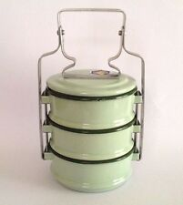 Thai Vintage Pinto Green Enamel Bento Food Carrier Container Cookware Lunch Box