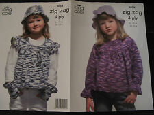 "King Cole Knitting Pattern: Girls Smock Tops Gloves & Hat 4ply 24-30"" 3058"
