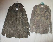 2 Lot Of Camouflage Trophy Club Hunting Parka & Mossy Oak Flannel Shirt Sz Large