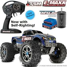 Traxxas 39086-4 1/10 E-Maxx Brushless Monster Truck TSM w/Self Righting RTR Blue