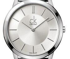 Calvin Klein K3M22126 Ladies Silver Dial Black Leather Strap Swiss Quartz Watch