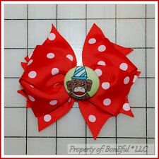 BonEful RTS NEW Girl Boutique Hair*Bow Ribbon Red White Dot Sock Monkey Birthday